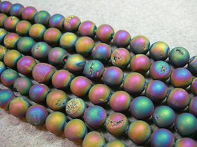 "Titanium Plated Agate Druzy Round beads 10mm - 8"" strand"