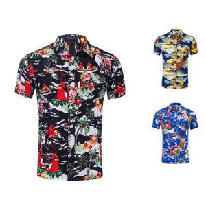 029b20b5 Men's Aloha Hawaiian Shirts Summer Fancy Tops Short Sleeve Beach ...