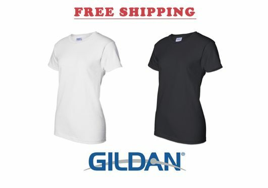 100 T-SHIRTS Blank 50 schwarz 50 Weiß BULK LADIES LOT XS-XL damen Gildan 2000L