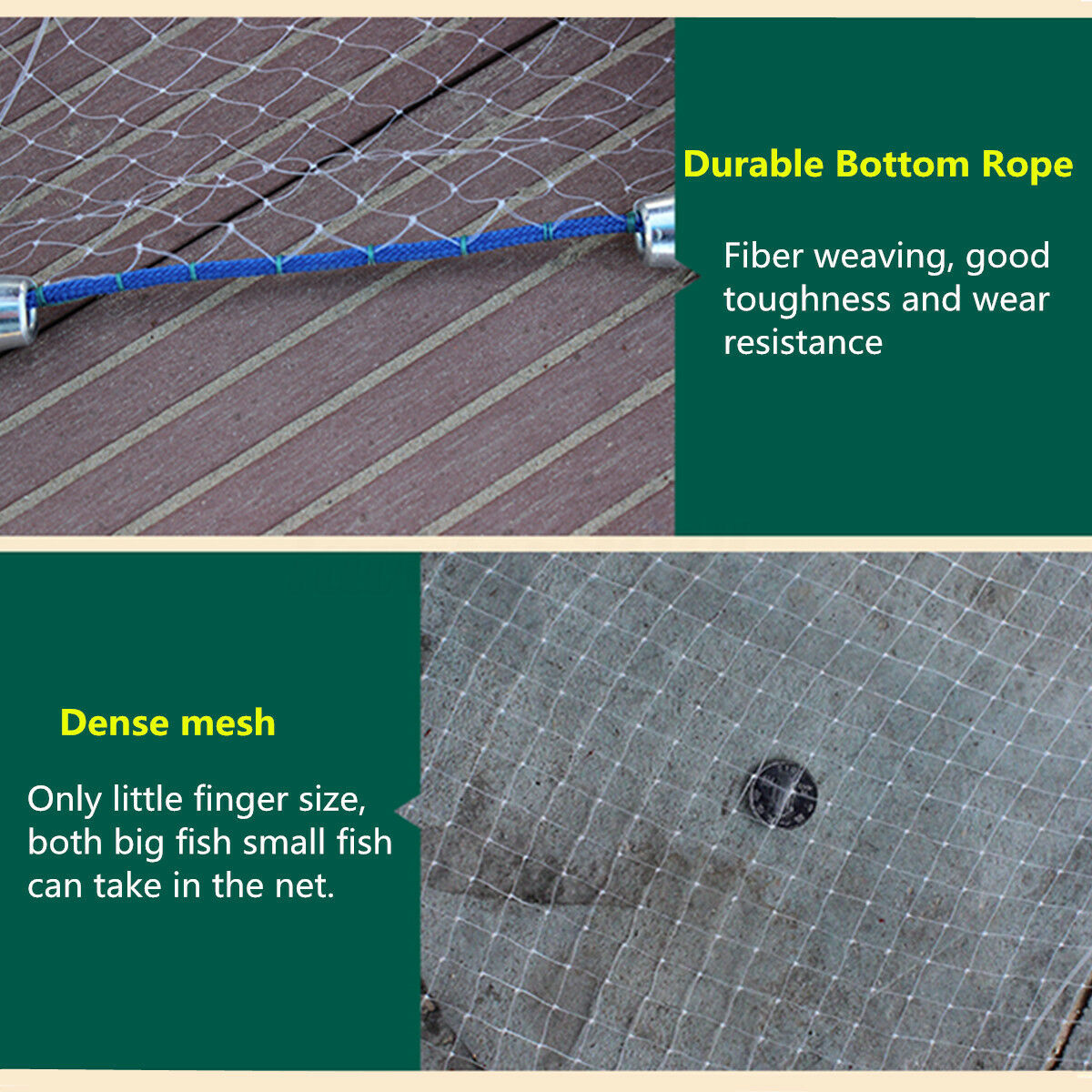 14/18/22/30FT Hand Cast Fishing Mesh Equipment Spin Network Bait Fish Fish Fish 438af9