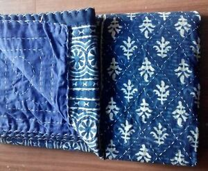 Indian-Handmade-Cotton-Bedspread-Reversible-Kantha-Quilt-Bedding-Vintage-Throw3a