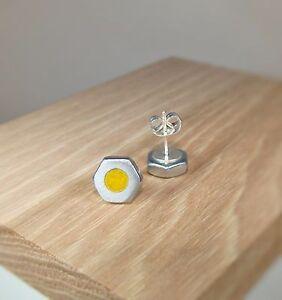 Citrine-Yellow-Pearl-Hex-Nut-Stud-Earrings-Acrylic-Inlay-Handmade