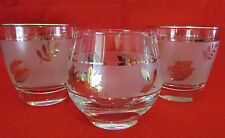 3 LIBBEY GOLD LEAF DRINKING GLASSES WINE COCKTAIL OR WATER
