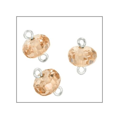 5 Cubic Zirconia In Sterling Silver Rondelle Beads Connector 6mm Champagne 51569