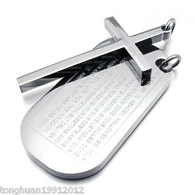 Men Women Stainless Steel Pendant Necklace Charm Chain Dog Tag Cross Band Silver