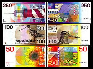 2x-50-100-250-niederlaendische-Gulden-Ausgabe-1977-1985-6-alte-Banknoten-02