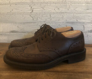 Banana Republic Brogue Brown Italian Leather Wing Tip Oxford Mens Size 9 D