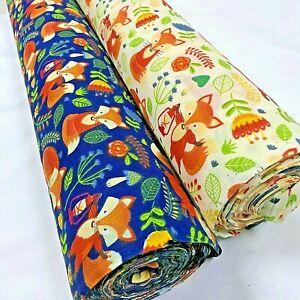 Sleepy-Fox-with-a-lantern-PolyCotton-Fabric-Per-Metre-114cm-Wide