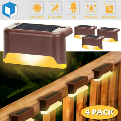 4Pack LED Solar Deck Light Solar Outdoor Waterproof Fence Lamp Stair Step Patio