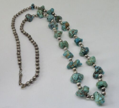 """Details about  /Old Pawn Navajo Turquoise Nugget 24.5/"""" Silver Bead Necklace"""