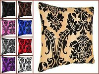 """4X Luxurious Damask Flock Cushion Covers 18x18"""" Available In 14 Stunning Colours"""