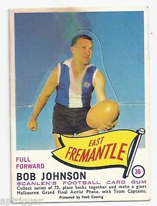1966 Scanlens ## 36 Bob JOHNSON East Fremantle Unpopped Die Cut Good