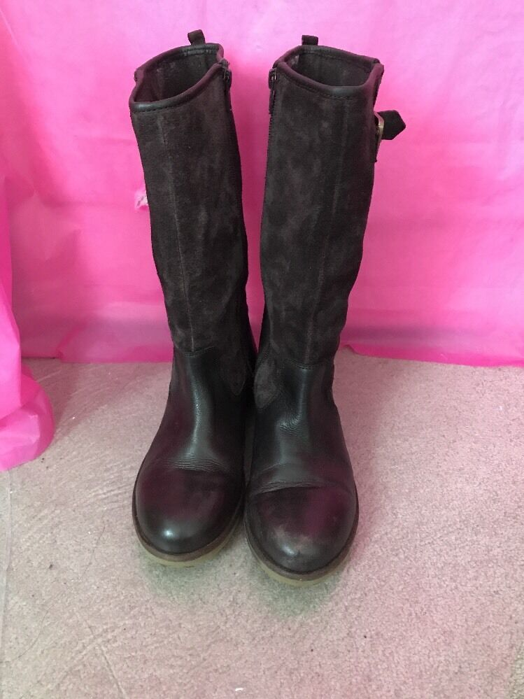 Braun Suede Leder Stiefel Zara Girls Größe 38 Calf High High Calf 9dcf5c