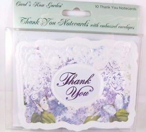 carol wilson 10 thank you card lace borders stationery purple flora