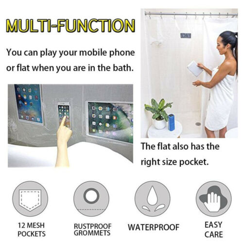 Home Bathroom Clear Shower Curtain Liner W// 12 Pockets Holder For Tablet Phone