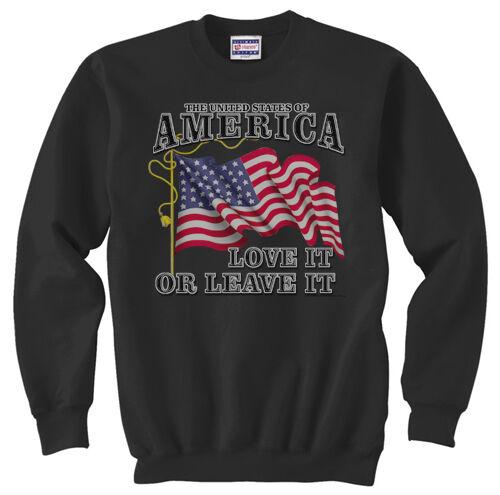 United States of America Love it or Leave it USA Crewneck Pullover Sweatshirt