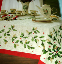"""Lenox HOLIDAY Christmas IVY Tablecloth 60x120"""" Oblong Gold Accent Red Border New"""