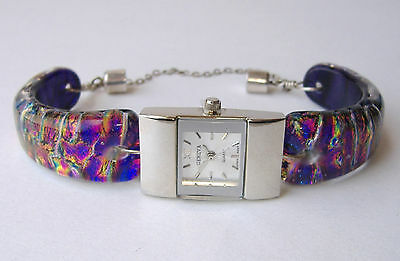 Raspberry Watch Fused Dichroic Glass Band Silver Handmade Wristwatch New Gift