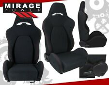 2x Universal Reclinable Racing Bucket Seats Automotive Car Black With Red Stitches Fits Cts V