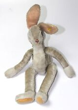 VINTAGE GERMAN EARLY  STEIFF RABBIT W WHITE  BUTTON PLUSH MOHAIR 1950s