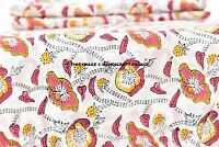 Block Print, Hand Printed Cotton. 2½ Yards. Artisan, India Fabric. White ,Pink