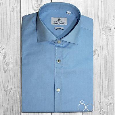 Camicia Uomo Casual Basic Cotone Tinta Unita Grigio Manica Lunga Slim Fit SARANI
