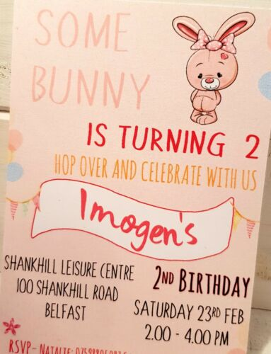 SOME BUNNY PARTY INVITATIONS PINK FIRST BIRTHDAY GIR PERSONALISED PACK OF 10