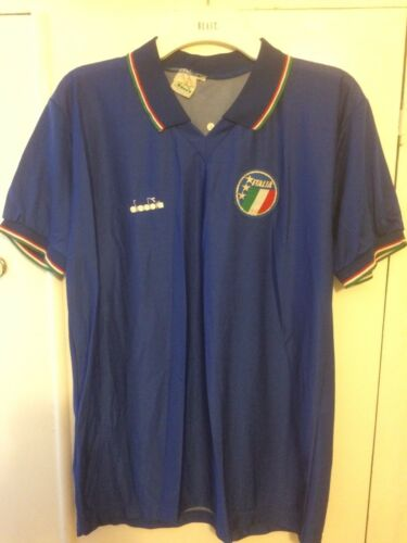 19861990 Italy home football shirt large men's Diadora Italia 90 Rare Vintage