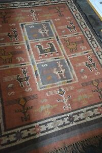 Jute-with-Wool-Gabbeh-Kilim-Rust-Grey-155x220cm-Quality-Hand-Made-Reversible-rug