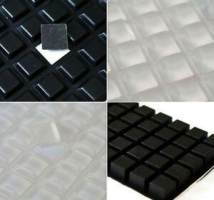 3M-Silikon-GUMMIFUssE-Selbsthaftendem-KLAR-Schwarzes-Quadrat-Selbstklebend