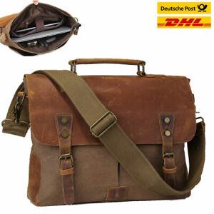 cc7e61df5e806 Herren Leder Canvas 14   Laptop Messenger Umhängetasche Schultasche ...
