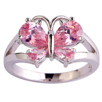 Pink Topaz Gemstone Fashion Jewelry Women Gril Silver Ring Size 6 7 8 9 10 11