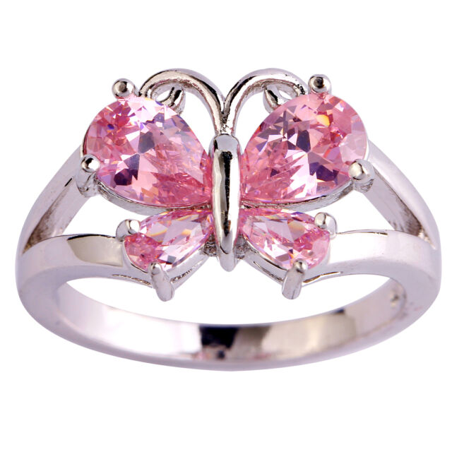 Pink Topaz Gemstone Fashion Jewelry Women Gril Silver Ring Size 6 7 8 9 10 11
