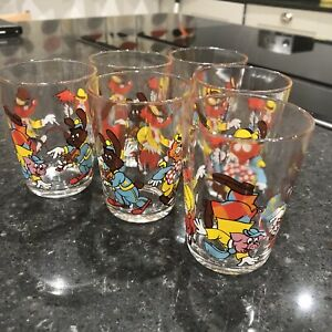 Vintage-Set-Tumblers-6-1970s-Enamelled-Cartoon-French-Juice-Glasses-8cm