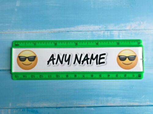 6 colours Personalised 15cm ruler School Company Office Emoji face design