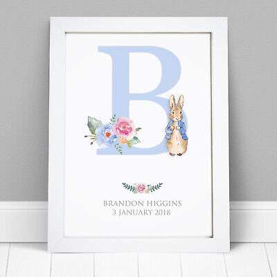 PERSONALISED Peter Rabbit New Baby//Birth FRAMED PRINT Boy /& Girl Picture Gift