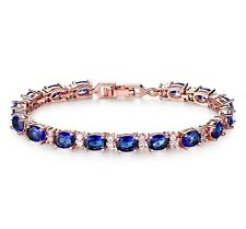 Tennis bracelet 18k Rose gold finish Dubai Blue Sapphire With Created Diamond