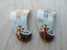 2pcs Hashioki Japanese chopstick rest Kyo Kiyomizu yaki Treasure ship TAKARABUNE