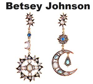 US-Seller-Betsey-Johnson-Sun-amp-Moon-Crystal-Dangle-Drop-Earrings-Multi-color