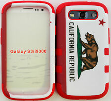 Samsung Galaxy S3 Hybrid Cover Case Silicone California Republic/ Red Skin