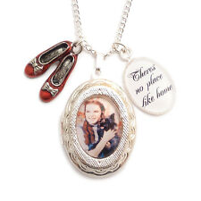WIZARD OF OZ necklace locket Dorothy RUBY red slippers Theres no place like home