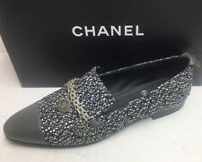 Chanel 16P Tweed Grey Cap Toe Chain Charms Loafers Moccasins Flat Shoes 41