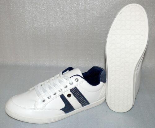 Moza-X Leder Herren Schuhe Freizeit Sport Running Sneaker 40 UK 6.5 Weiß Dk.Blau