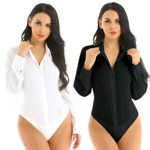 Black-White-Women-039-s-Bodysuit-Shirts-Tops-Button-Down-Blouse-Long-sleeve-Tops