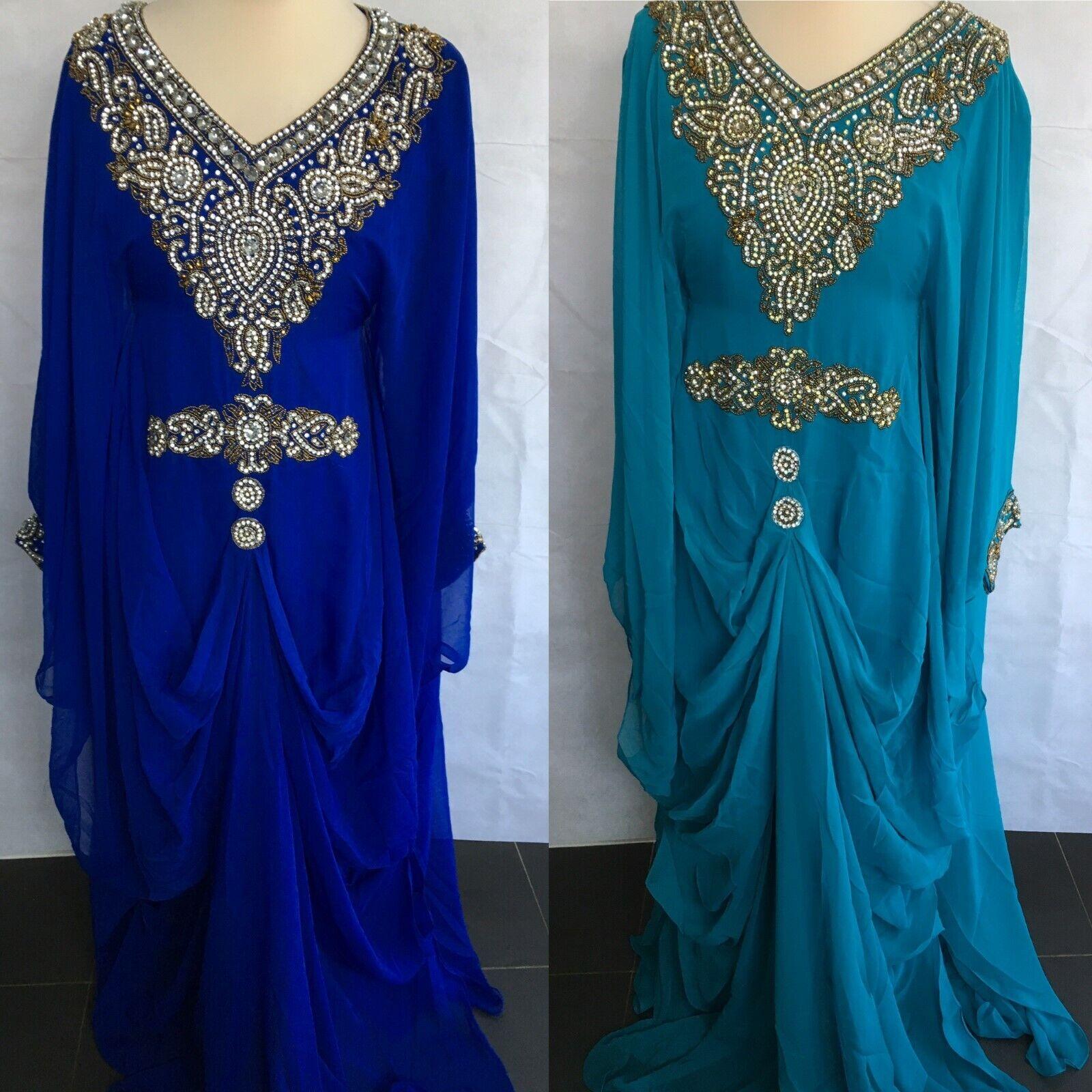 NEW J61 Dubai Kaftan Farasha Jalabiya Maxi Dress Butterfly in Blau & Turquoise