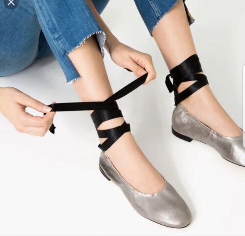 6 New Flats Taglia Leather Silver Ballerine Lace Zara 39 Euro Uk Up zU7wq