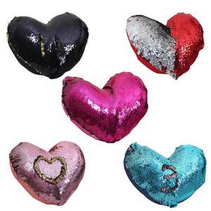 Magic Love Heart Shape Pillow Case Reversible Sequin Glitter Sofa