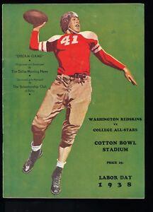 EX-PLUS-9-5-1938-Washington-Redskins-vs-College-All-Stars-NFL-Program-Sam-Baugh