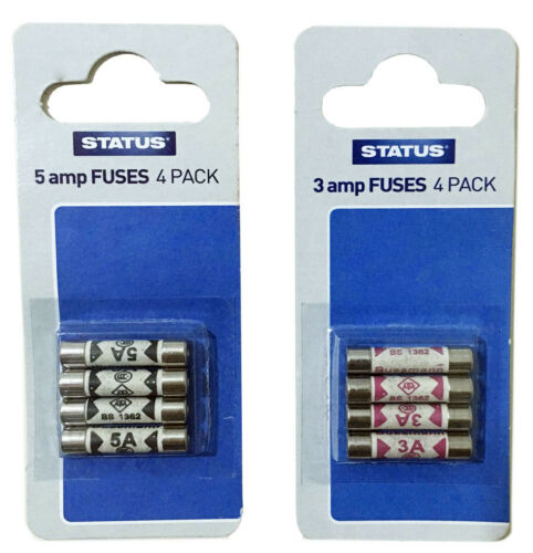 Status Domestic Household Fuses 3 /& 5 AmpPack of 4-3ampPack of 4-5amp.