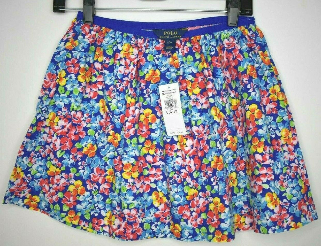 Polo Ralph Lauren Womens Floral Cotton Lined Mini Skirt Size L MSRP  49.50 NWT